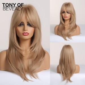 Image 3 - Długie faliste warstwowe brązowe do blond włosy typu Ombre peruki z grzywką żaroodporne peruki syntetyczne dla kobiet Afro Cosplay naturalne peruki