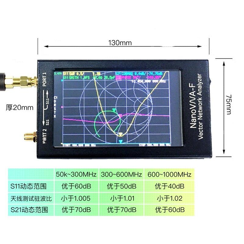 NanoVNA-F VNA Nano Tragbare Vector Network Analyzer SWR Meter 50 k-1,5 GHz 4,3 Zoll IPS TFT digitale Kurzwelligen MF HF VHF