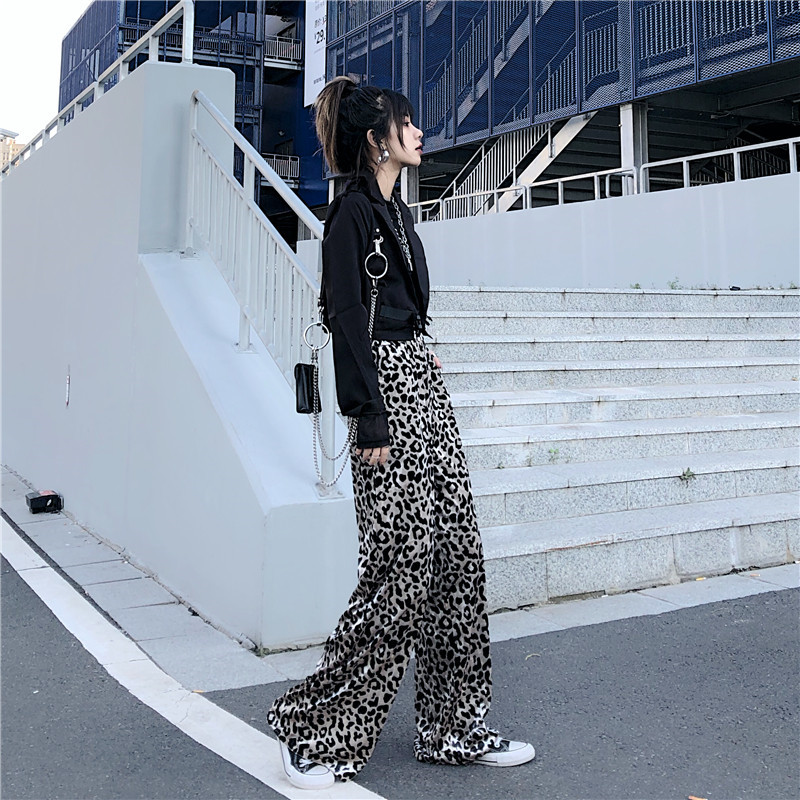 Focal20 Streetwear Leopard Women Pants Elastic High Waist Loose Female Trousers Bottoms Casual Spring Autumn Lady Pants Trousers 1