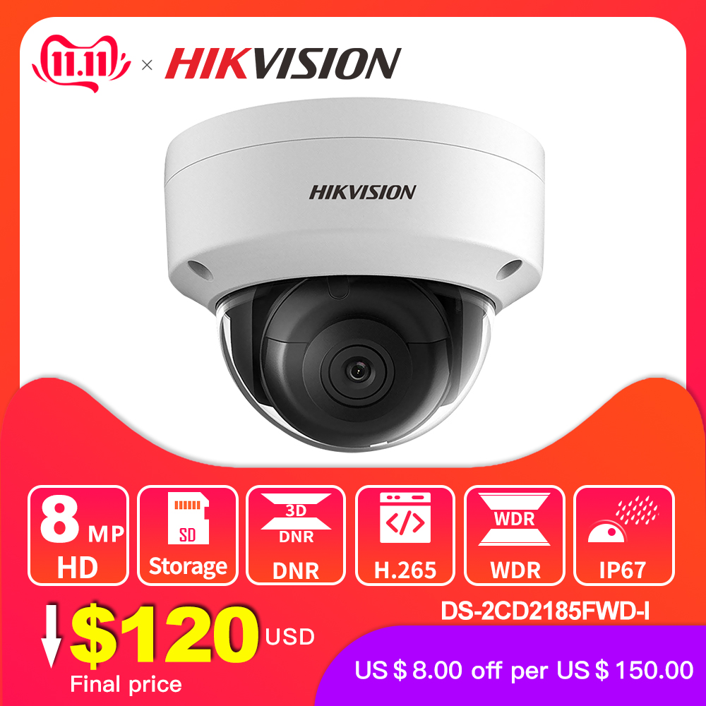 Hikvision Original IP Camera 8MP IR Fixed Dome DS 2CD2185FWD I Network Camera POE H.265 Updatable CCTV security H.265 IP67-in Surveillance Cameras from Security & Protection