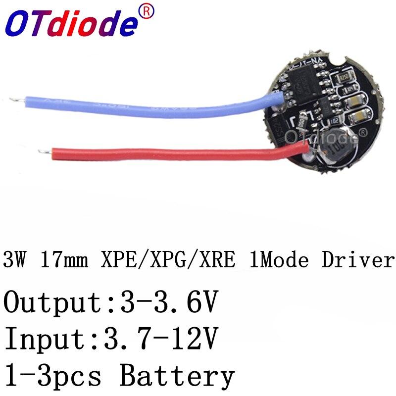 1PCS 3W HA CONDOTTO il driver 17 millimetri 3.7-12V DC 1 Modalità Torcia A LED Driver per CREE XRE-Q5/XPE/XBD XB-D tutti i tipi di 3W HA CONDOTTO LA Lampada Della Luce