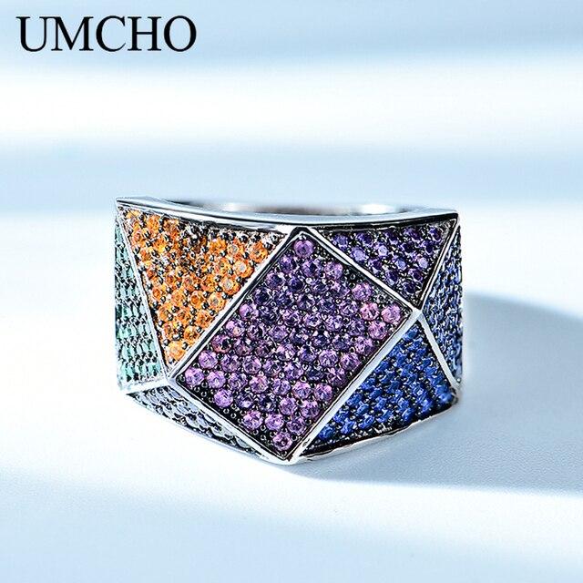 UMCHO utworzono specjalnym wzorem 925 Sterling Silver Design pierścionki dla kobiet obrączki prezent zaręczynowy Fine Jewelry Party Gift