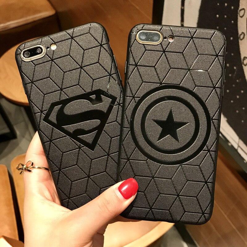 3D Emboss Cases For iPhone SE 5 6s 7 8 11 Pro X XS XR MAX Plus Batman Ironman Captain America Heroes Soft TPU Black Phone Cases