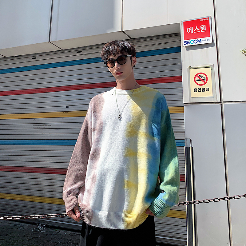Winter Camo Sweater Men Warm Fashion Tie Dyed Printed Casual Knit Sweaters Man Loose Hip Hop Long-sleeved Pullover Men M-2XL