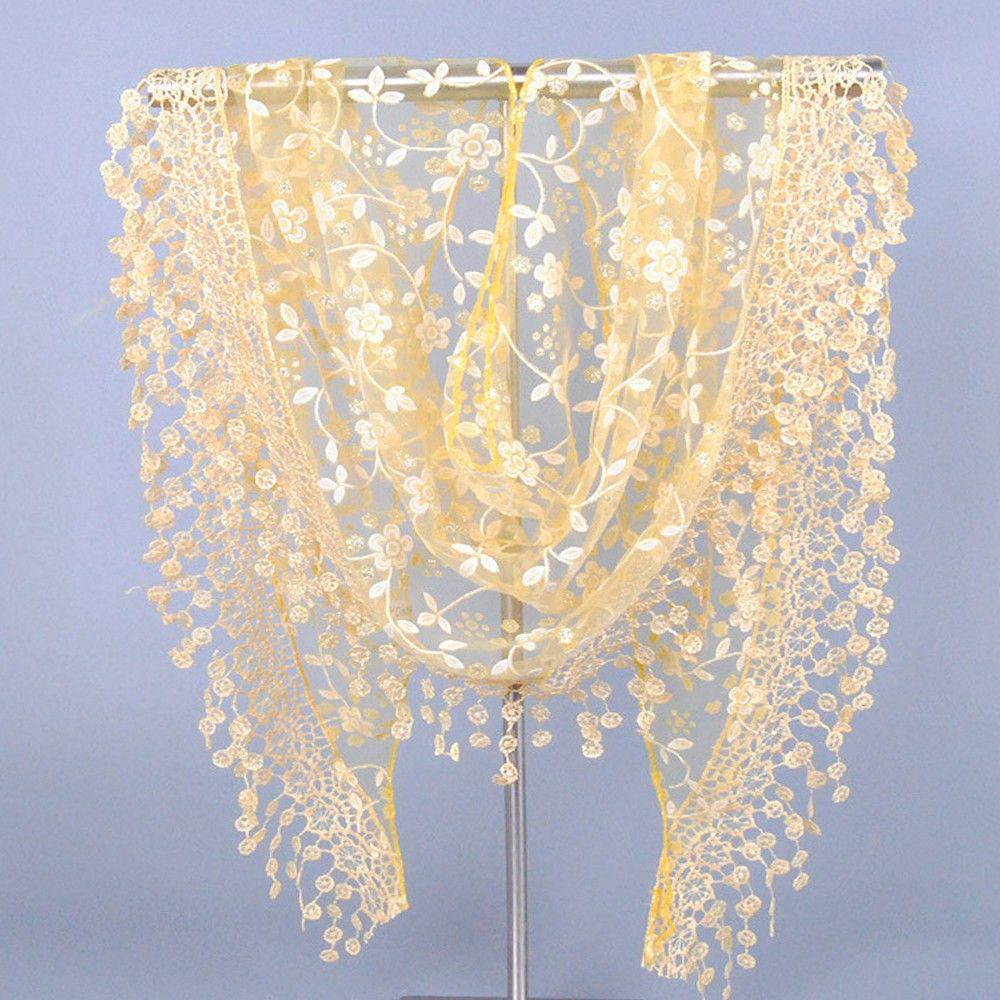 Fashion Women Triangular Lace Scarf Crochet Design Lady Lace Sheer Floral Print Shawl Party Evening Neckerchief 140 * 40 Cm