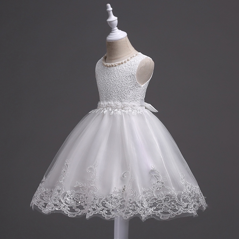 Image 5 - Skyyue Flower Girl Dresses Appliques Beading Fashion Communion Gowns O Neck Sleeveless Kids Party Girls Pageant Dresses 981-in Flower Girl Dresses from Weddings & Events