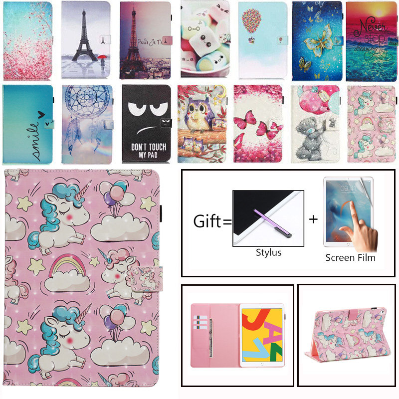 For iPad 10.2 2019 Smart Case for Apple iPad 7th Generation A2200 A2232 Cover Funda Skin Stand Shell Painted Unicorn Owl Coque image