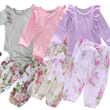 0-24M Newborn Gifts 3pcs Baby Girl Clothes Set Long Sleeve Romper+Headband+Floral Long Pants Clothing Sets Autumn Outfit