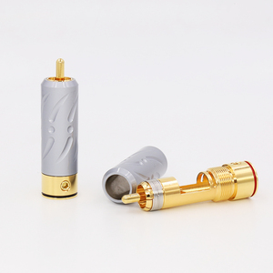 Image 4 - 2Pieces High Quality VR109G Pure Copper Gold Plated RCA Plug Connector hifi Audio RCA Plug connector audiophile cable Plug
