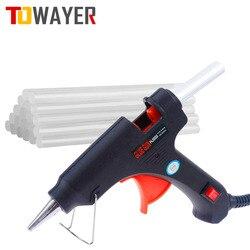 Towayer 20W Hot Melt Glue Gun with Glue Stick 7mm*100mm Mini Gun Thermo Electric Heat Temperature Tool DIY Glue Gun Repair Set