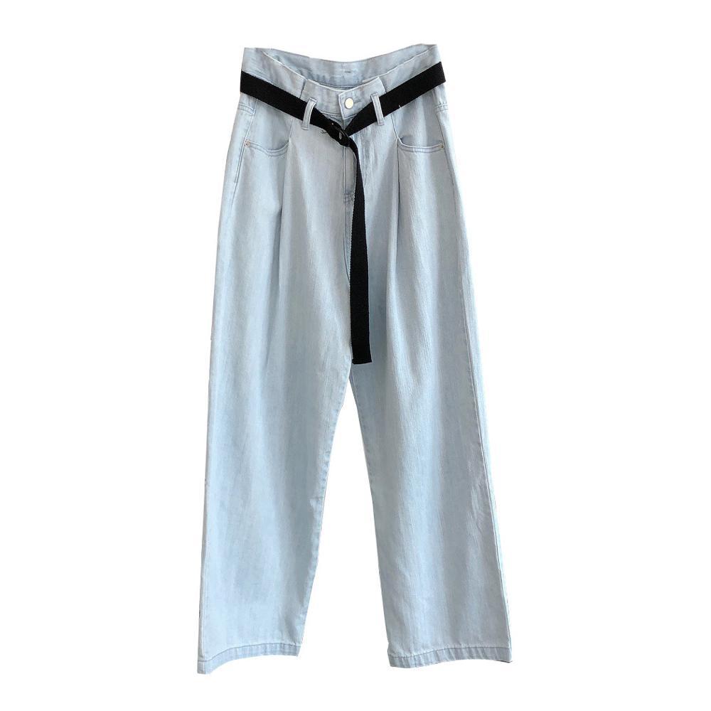 Vintage Washed Cotton Jeans Female High Wasit Wide Leg Pants Woman Straight Patchwork Pants Denim Blue Capris Retro Resort Wear