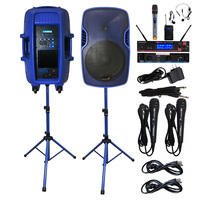 STARAUDIO 2X 15 3500W Powered KTV DJ Active Stage Audio Speakers PA Stands 2CH UHF Wireless Handheld Headset Microphone SSBM 15