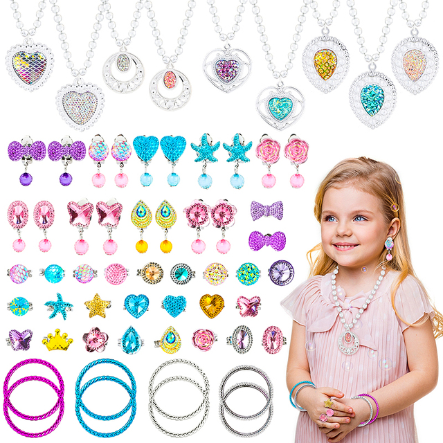 62Pcs Princess Pretend Jewelry Set Decor Princess-Toys Bags Necklace Bracelet Ring Earring Dress Up for Girls Party Supplies 1