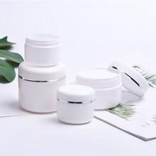 Garrafas recarregáveis brancas viagem loção creme facial recipiente cosmético plástico vazio maquiagem jar pot 20/30/50/100/150/250g