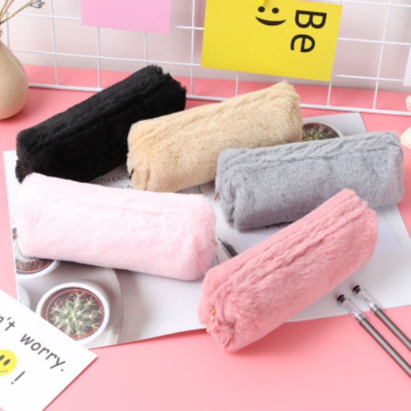 Pure Color Simplicity Square Zipper Fluffy Pencil Case Pen Bag Stationery Gift School Cute
