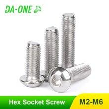 10/20/50 pces m2 m2.5 m3 m4 m5 m6 m8 A2-70 304 cabeça de botão de parafusos de aço inoxidável hex soquete allen parafuso iso7380