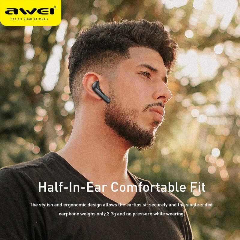 Awei T26 tws イヤフォンステレオサウンドハイファイ低音サウンドタッチ contorl イヤホン半分耳 600 mah 充電ケースでデュアルマイク