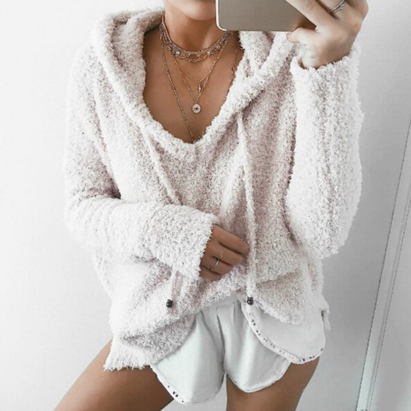 3XL 4XL 5XL Casual Mohair Hoodie Women Plus Size Fleece Fluffy Hoodies 2019 Autumn Winter Warm Plush Pullover Coat Outwear