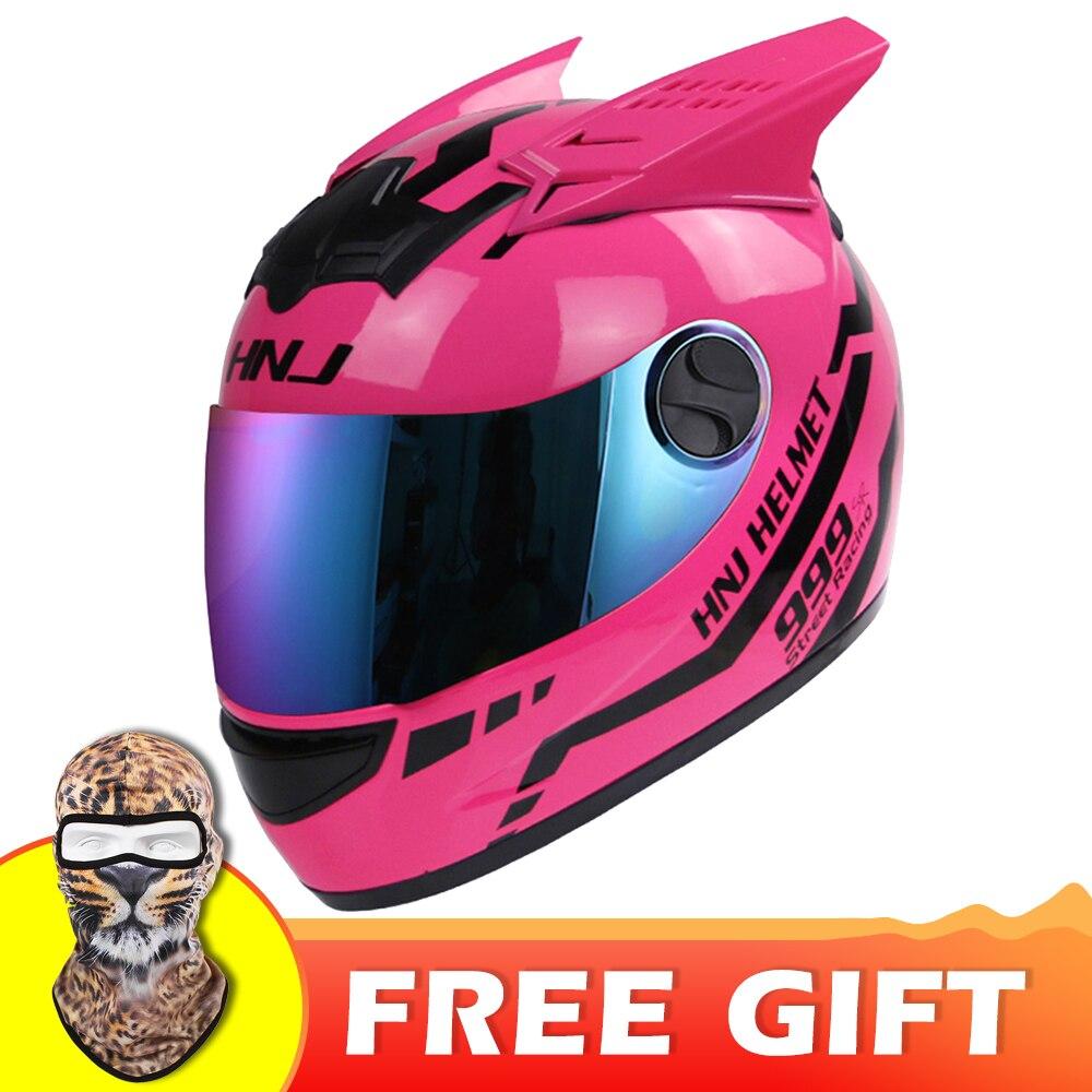 NITRINOS casque Moto femme casque Moto casque oreille Moto personalité casque moteur intégral 4 couleurs rose jaune noir blanc
