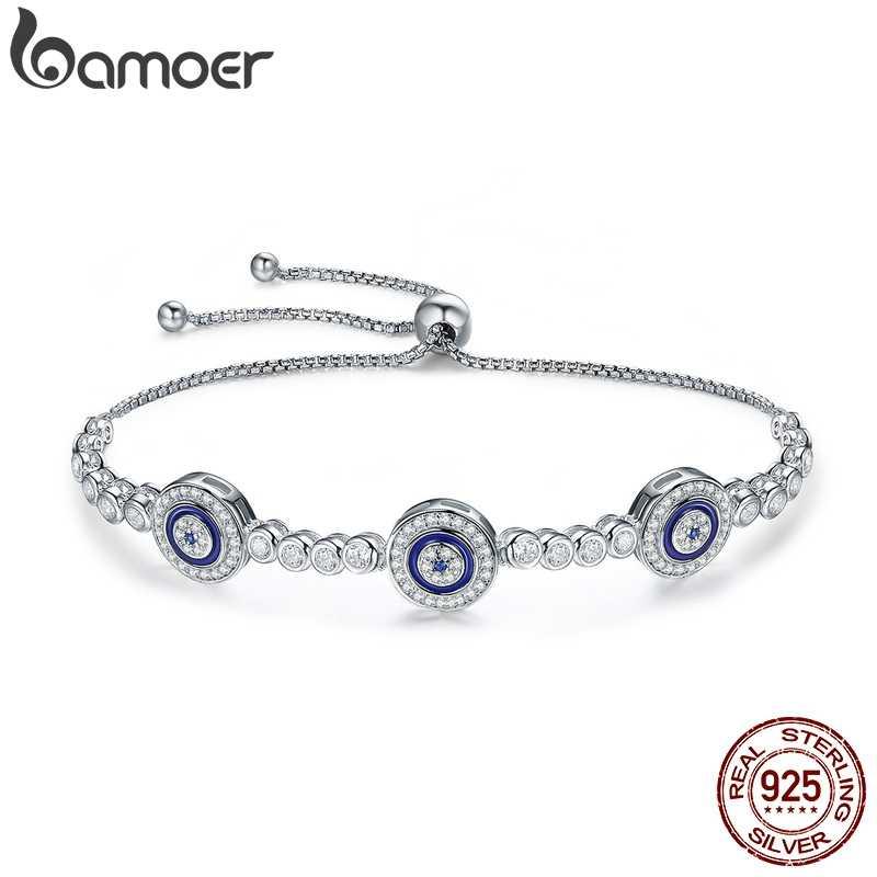 Bamoer Baru Asli 925 Sterling Silver Mewah Bulat Mata Biru Bening Cubic Zircon Crystal Tenis Gelang Perhiasan SCB002