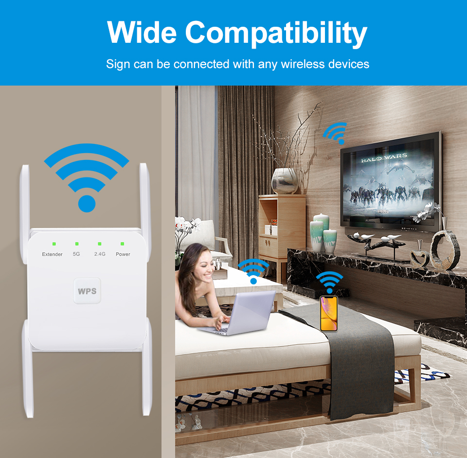 5 Ghz WiFi Repeater Wireless Wifi Extender 1200Mbps Wi-Fi Amplifier 802.11N Long Range Wi fi Signal Booster 2.4G Wifi Repiter 4