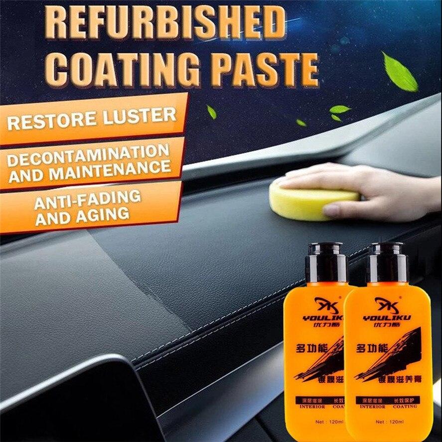 Casa limpador 1 pc 120ml renovado revestimento pasta automotivo interior auto & couro renovado revestimento colar agente de manutenção 0909 #