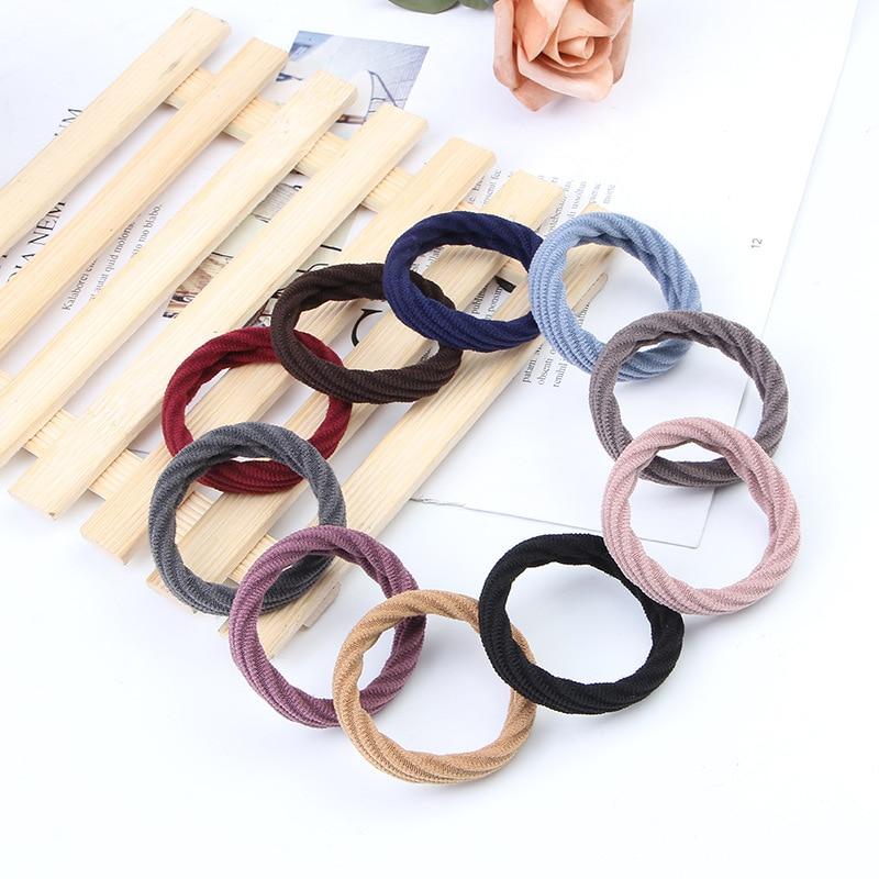 10pcs Lot Women Girls Simple Basic Elastic Hair Bands Tie Gum Scrunchie Ponytail Holder Rubber Bands Fashion Hair Accessories