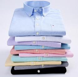 Summer 2020 solid color men's shirt cotton square collar men's short sleeve shirt comfortable and  men's casual shirt KDJ-01-25