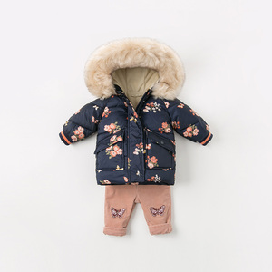 Image 4 - DBJ11915 דייב bella חורף תינוק בנות ברדס פרחוני תינוק מעיל מרופד מעיל ילדים באיכות גבוהה מעיל ילדים מרופד הלבשה עליונה