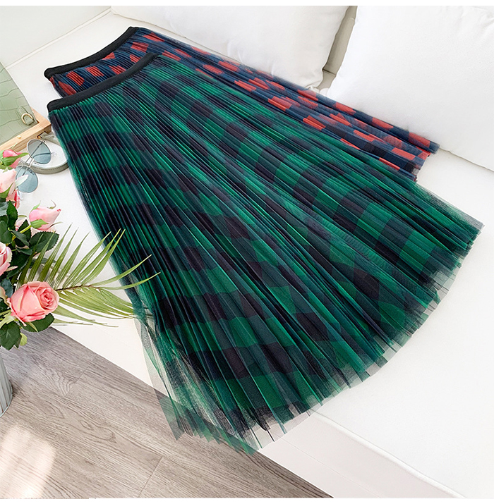 Hb1c1828c14b94da089157e41eb3c9172n - TIGENA Green Red Long Plaid Tutu Tulle Skirt Women Fashion New Elegant A Line High Waist Pleated Maxi Skirt Female Ladies