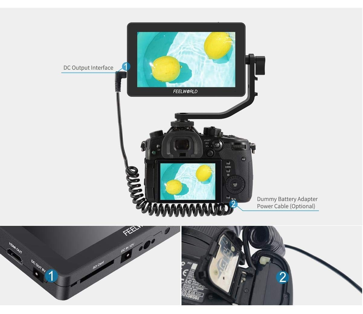 cheapest Feelworld Camera Monitor F6 Plus 5 5 Inch 3D Lut Touch Screen 4K HDMI IPS FHD 1920X1080 Monitor for DSLR Camera