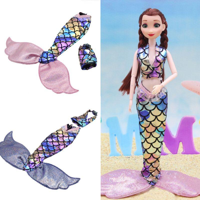 Un ensemble poupée Cosplay vêtements similaires conte de fées BeautyFish queue robe de mariée robe tenue de fête pour Brabie poupée bricolage Gif