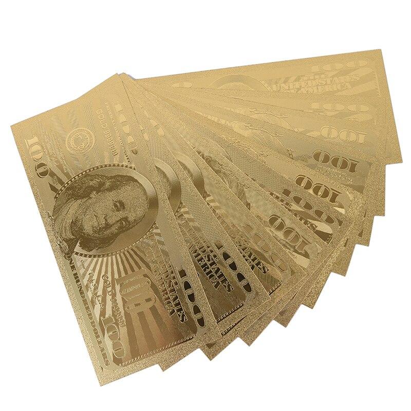 10 pçs 100 dólar eua notas de ouro moeda bill papel moeda moeda moeda medalha 24k estados unidos da américa|Notas de ouro|   -