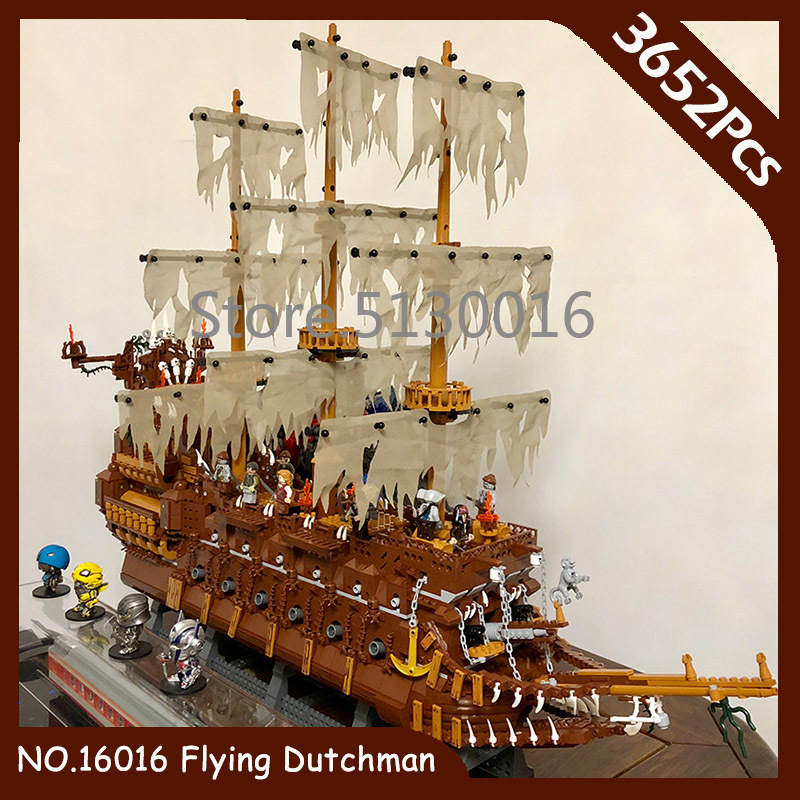 16016 In Stock Flying Ducthman Ship Ideas Pirates Of The Caribbean Movies 3652Pcs MOC Model Building Blocks Bricks Children Toys
