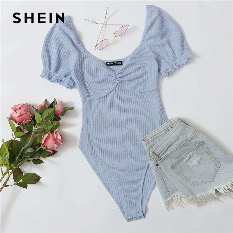 SHEIN Frilled Puff Sleeve Ruched Bust Rib-knit Bodysuit Women Autumn Short Sleeve High Waist Solid Casual Skinny Bodysuits