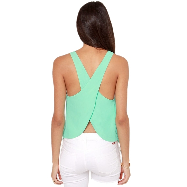 Summer Short Candy Casual Lady Shirts Top Backless Strap Cross Chiffon Blouse Women Blouses Plus Size Sexy Tops