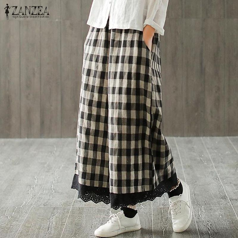 2021 ZANZEA Casual Lace Pacthwork Pantalon Women's Wide Leg Pants Vintage Check Pant Elastic Waist Long Trousers Plus Size 5XL