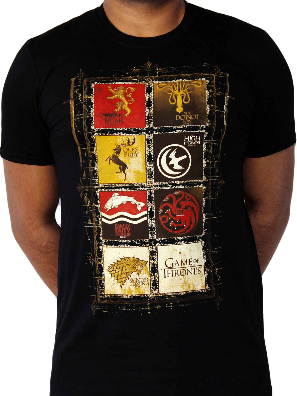 Game of Thrones House Crests 8 Lannister Stark TV Official Black Mens T-shirt summer o neck tee, free shipping cheap tee
