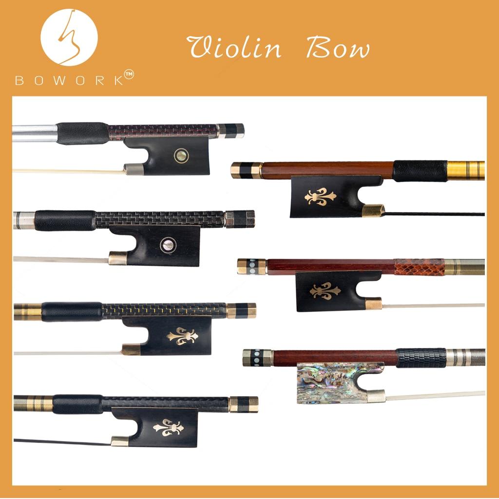 BOWORK Braided Carbon Fiber Violin Bow Brazilwood Fiddle Bow Pernambuco 4/4 Violin Bow