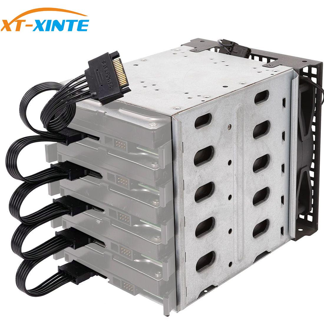 XT-XINTE 5-дисковые клетки для жесткого диска 3,5-дюймовая коробка для жесткого диска Расширение памяти компьютера лоток для жесткого диска Caddy w ...