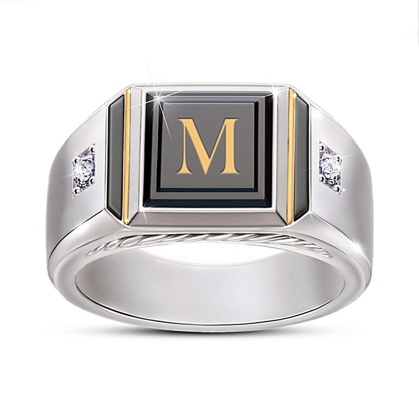Men Ring Zircon Black Hot-Selling Alphabet Two-Tone Micro-Inlay NPKDS Male New-Fashion