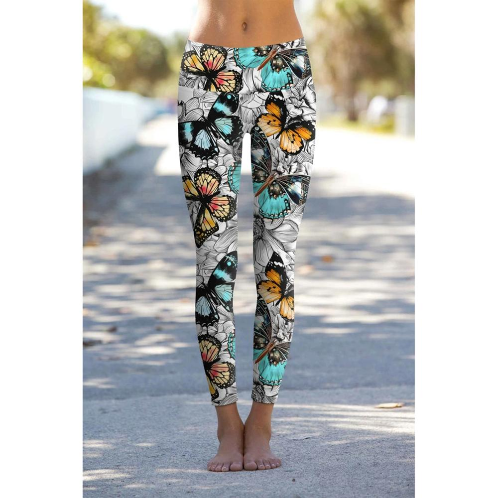 Butterfly Printed Fitness Legging Women Skinny Slim Sport Pencil Pants High Waist Push Up Jogger Sweatpants Gym Trousers