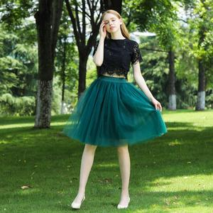 Image 2 - 7 Layered Tulle Skirts Womens High Waist Swing Dolly Ball Gown Underskirt Mesh Tutu 2020 Summer Midi Skirt Faldas Saias Jupe