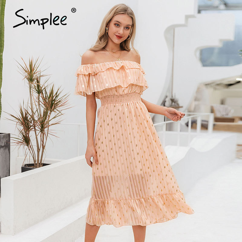 Simplee Sexy Off Shoulder Long Maxi Dress Elegant Vintage Dot White Party Dress Spring Summer Holiday Style Dresses Vestido 2020