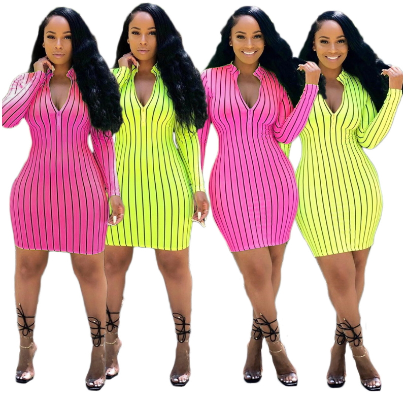 Deep V Neck Vertical Striped Printed <font><b>Bodycon</b></font> Bandage Dress Mini Long Sleeve <font><b>Sexy</b></font> Club Dresses For Women Midi <font><b>Vestidos</b></font> <font><b>De</b></font> <font><b>Renda</b></font> image