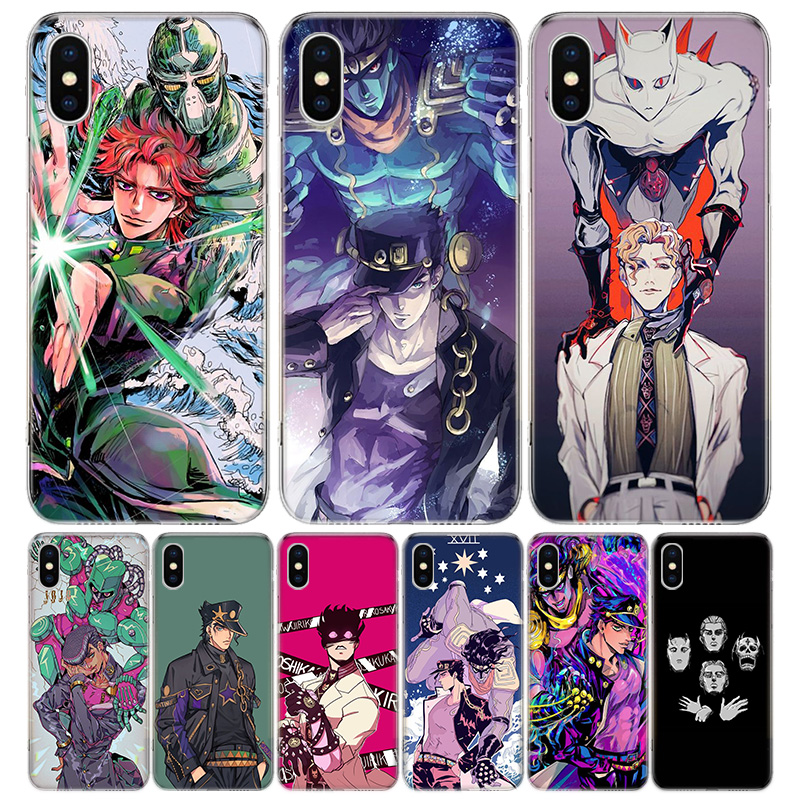 JoJo Bizarre Adventure Anime Cover Phone Case For Iphone 11 Pro 7 6 X 8 6S Plus XS MAX + XR 5S SE 10 9 Art TPU Coque Capa Shell