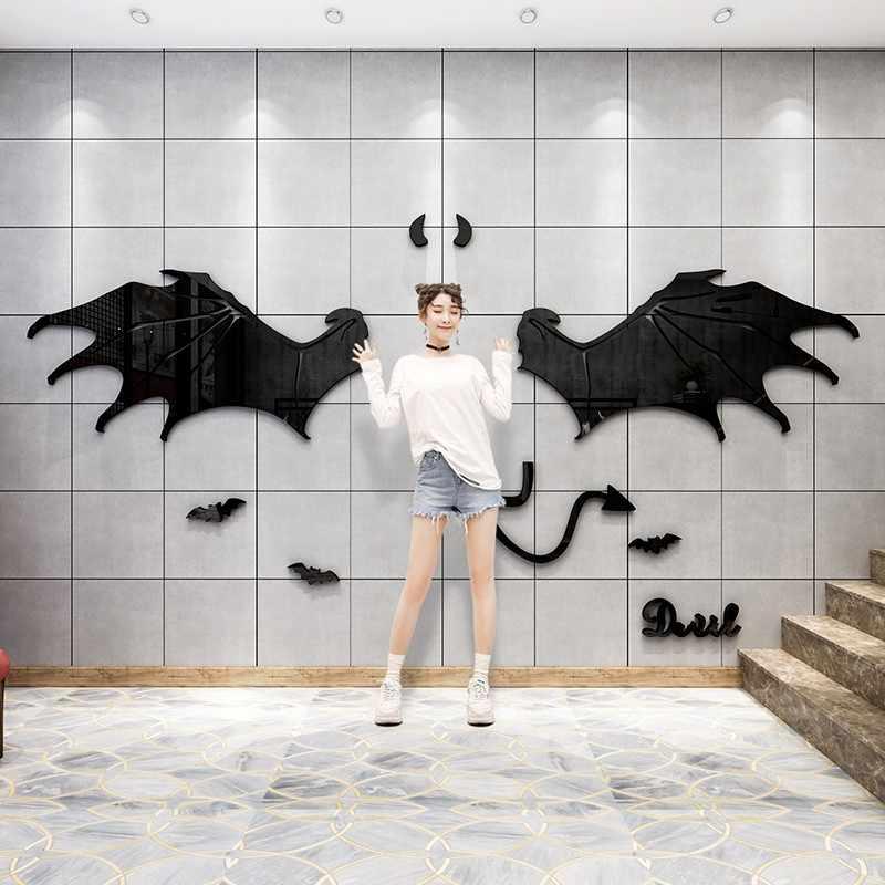 Creative Angel Wings Acrylic Mirror Wall Stickers Bedroom Living Room Decor Home Decor Home Garden
