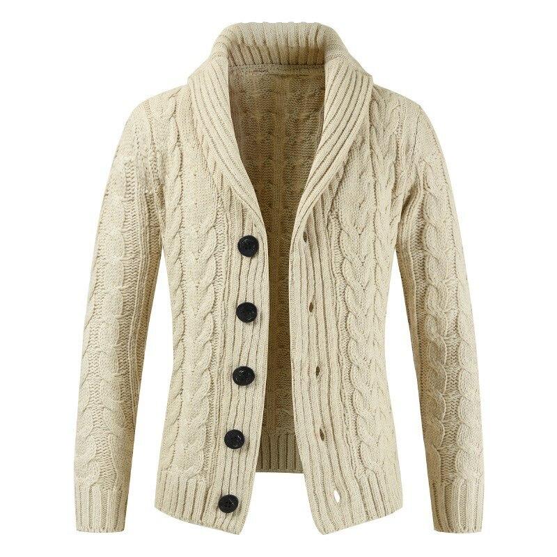 Sweater Men 2019 Autumn Winter Lapels Coat Streetwear Long-sleeved Warm Knitting Cardigan Man Blusa De Frio Masculino