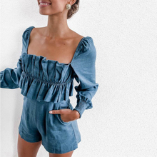 Vadim 2019 Europe Cotton Knitted And America Autumn Winter New Long-sleeved Pleated Tube Top Casual Jumpsuit Women's Clothing