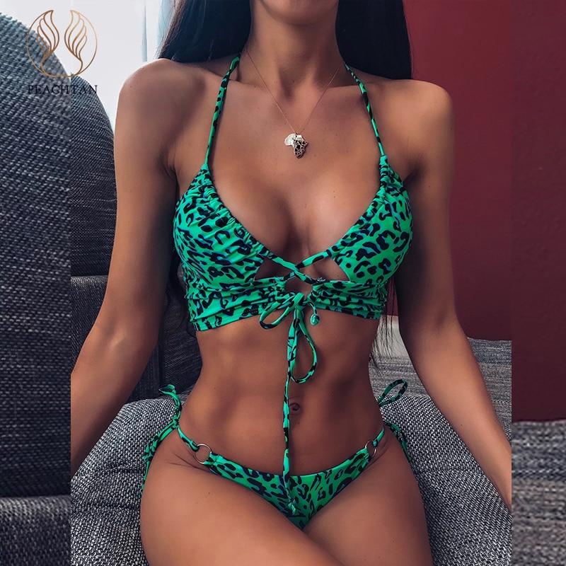 Peachtan Sexy Lace Up Bikini Set Halter High Cut Swimwear Women Push Up Swimsuit Female Brazilian Bikini Bathers Bathing Suit